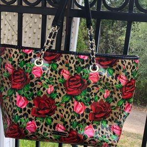 Betsey Johnson Black Floral Satchel Tote